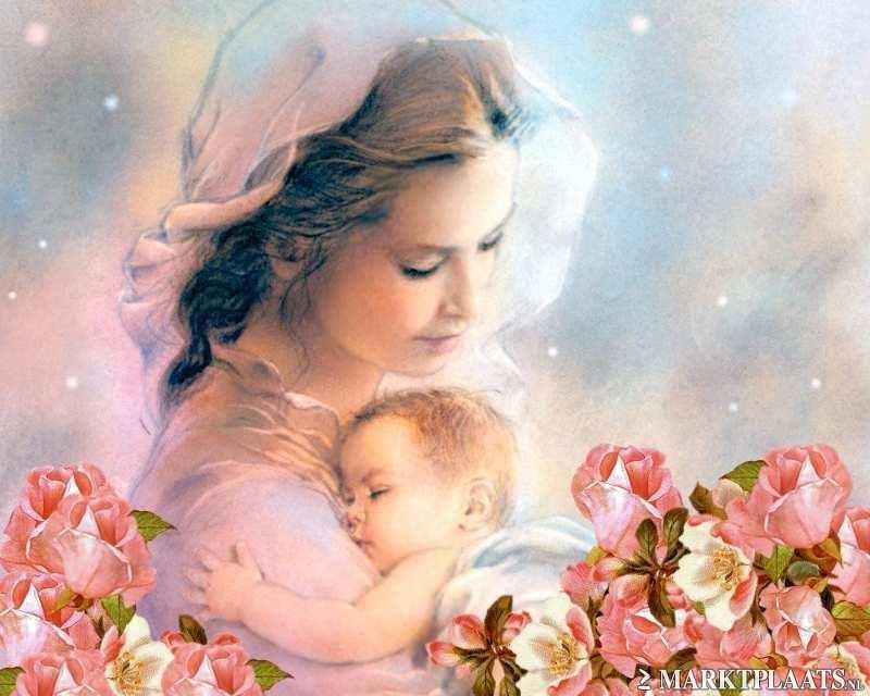 Картинка к дню матери в сердце женщина с ребенком
